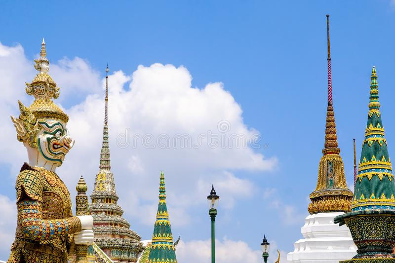 The Yak, Giant Demon God Guardian Guarding The Grand Palace Bangkok Thailand royalty free stock photos