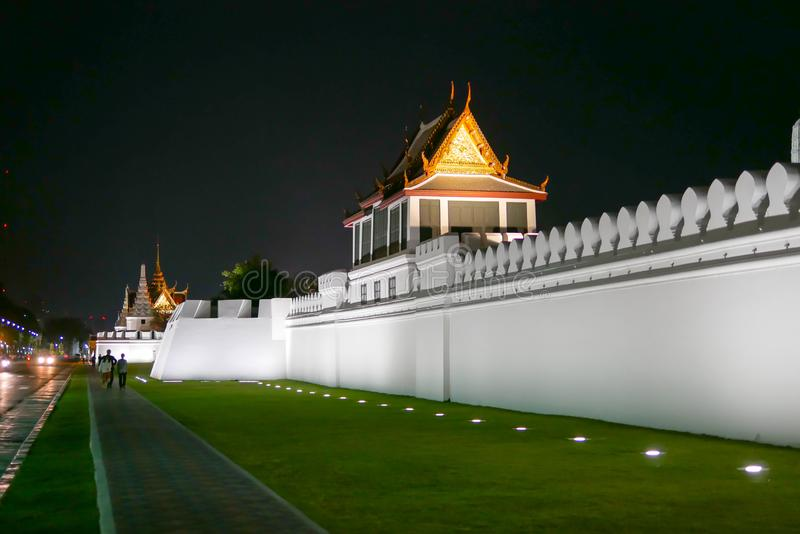 Grand palace and Wat phra keaw temple at night in Bangkok, Thailand , this is one of the most popular place for tourism from royalty free stock photos