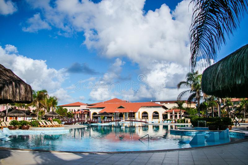 Grand Palladium resort & spa. Grand Palladium Imbassaí Resort & Spa All Inclusive Fun is guaranteed in this establishment royalty free stock photo
