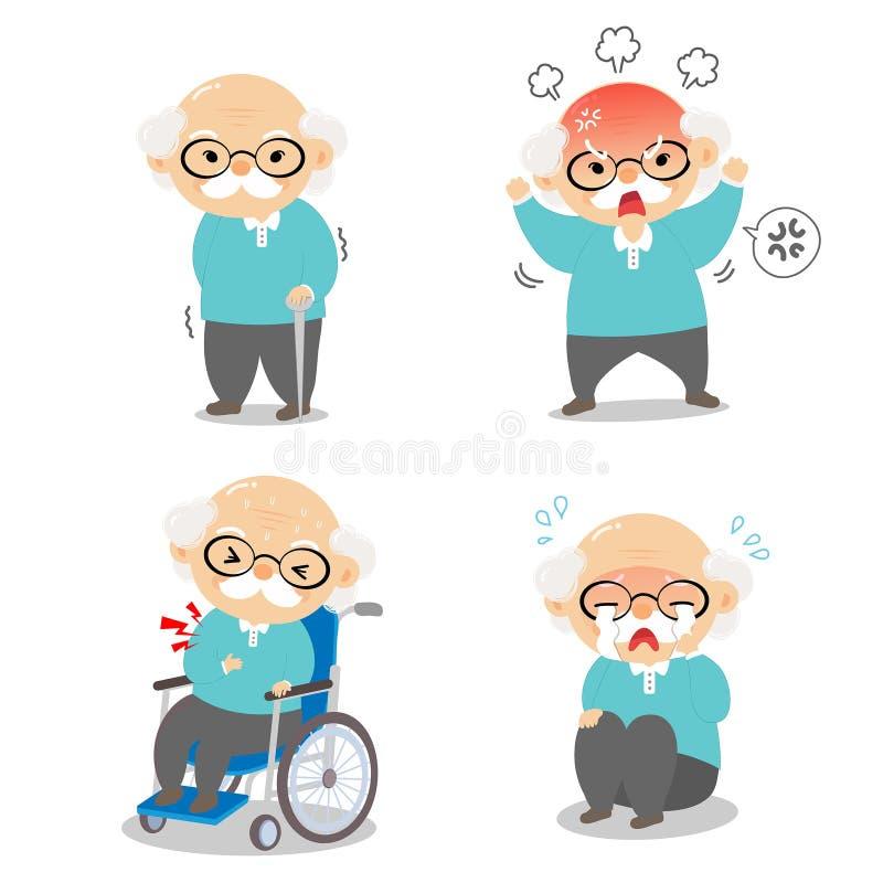 Grand-papa dans diverses postures et émotions d'expression illustration libre de droits