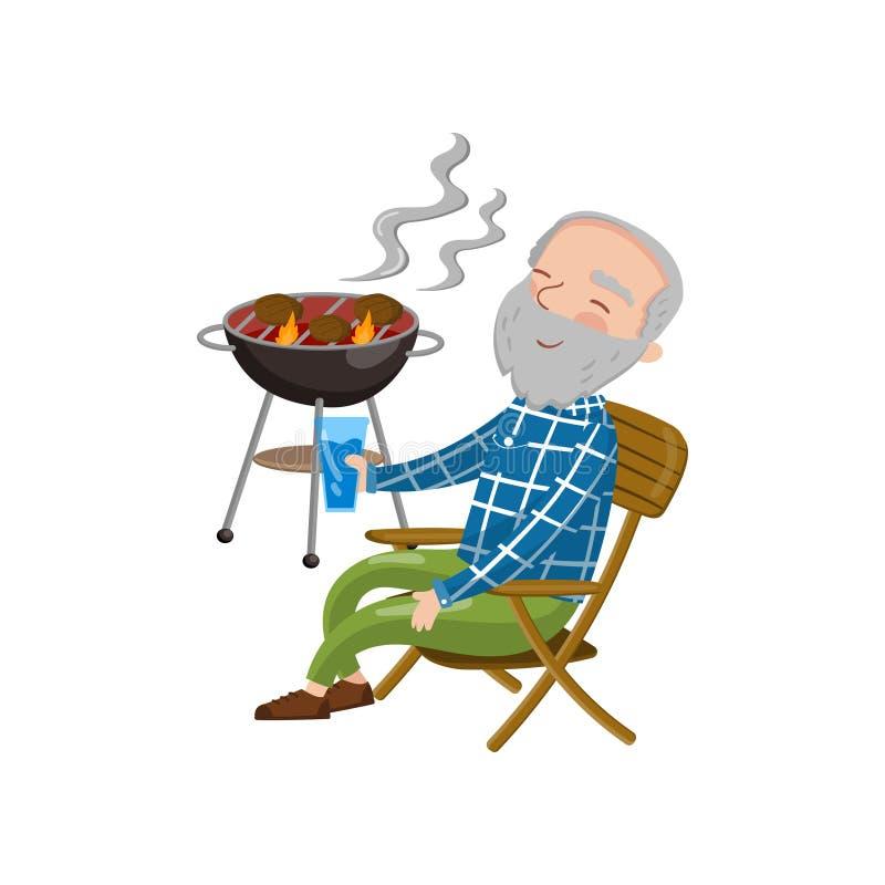 Grand-papa de sourire heureux grillant le barbecue tout en se reposant sur la chaise et buvant, illustration de vecteur de bande  illustration stock
