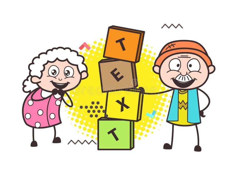 Grand-papa et grand-maman heureux avec la bannière de blocs illustration de vecteur