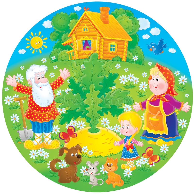 Grand-papa, grand-maman, petite-fille et grand navet illustration libre de droits