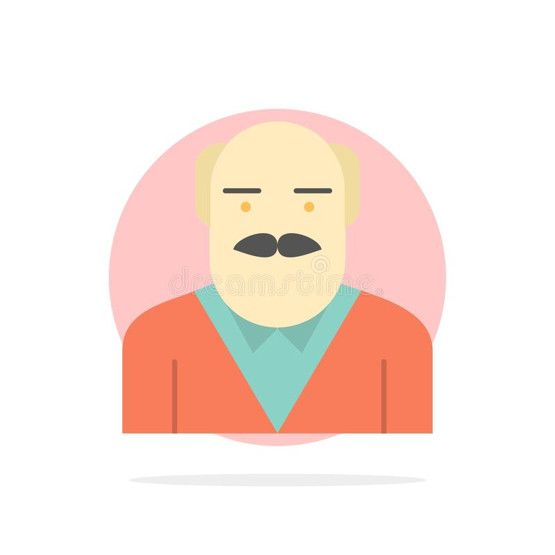 Grand-papa, père, vieil homme, icône de couleur d'oncle Abstract Circle Background Flat illustration libre de droits