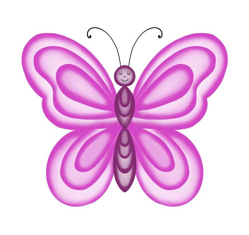 Grand papillon cramoisi avec les ailes transparentes sur le fond blanc illustration libre de droits