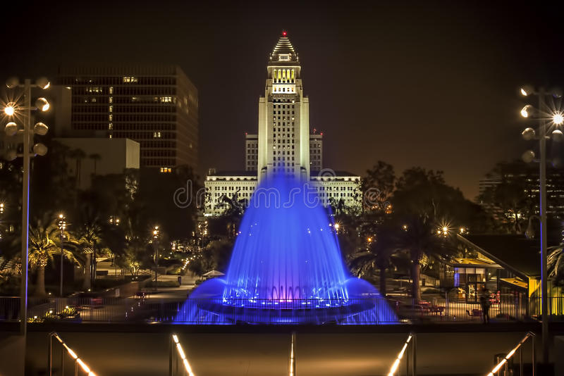 Grand Park Fountain City Hall stock photography