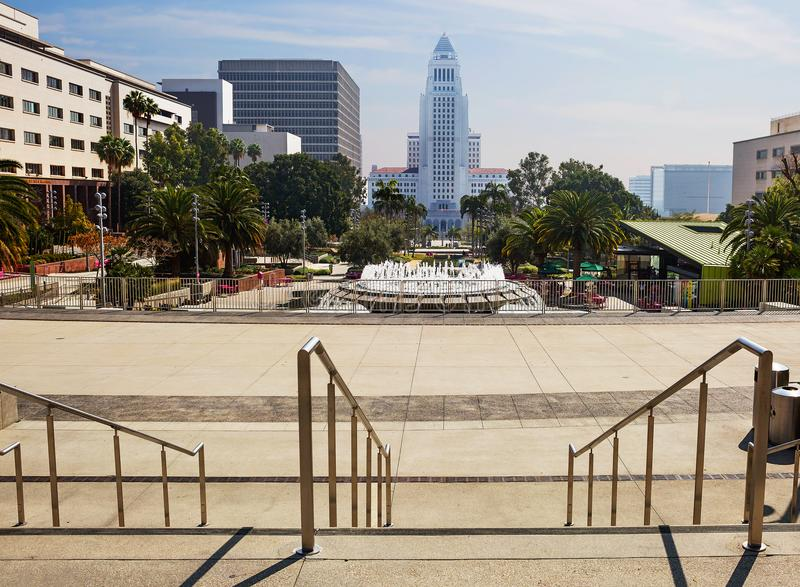 Los Angeles, USA, 2016:02:28 Grand Park and city hall in downtown Los Angeles. royalty free stock photo