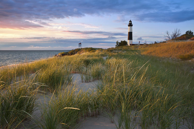 Grand phare de point de sable. photographie stock