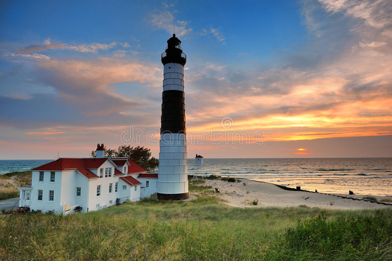 Grand phare de point de sable - Ludington, Michigan images stock