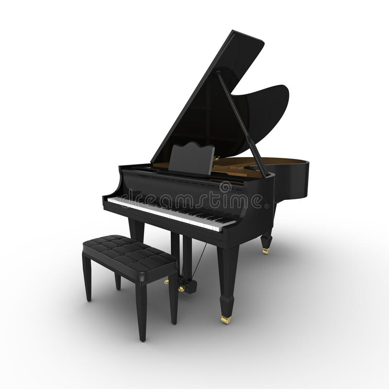 Grand Piano. Black grand piano, isolated on a white background vector illustration