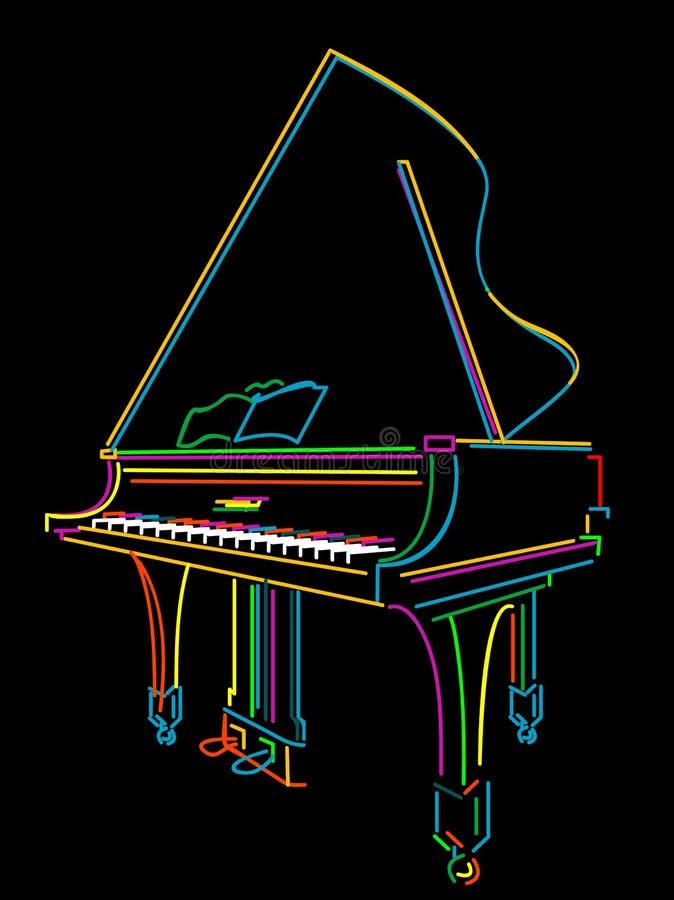 Grand piano. Classical grand piano sketch over black royalty free illustration