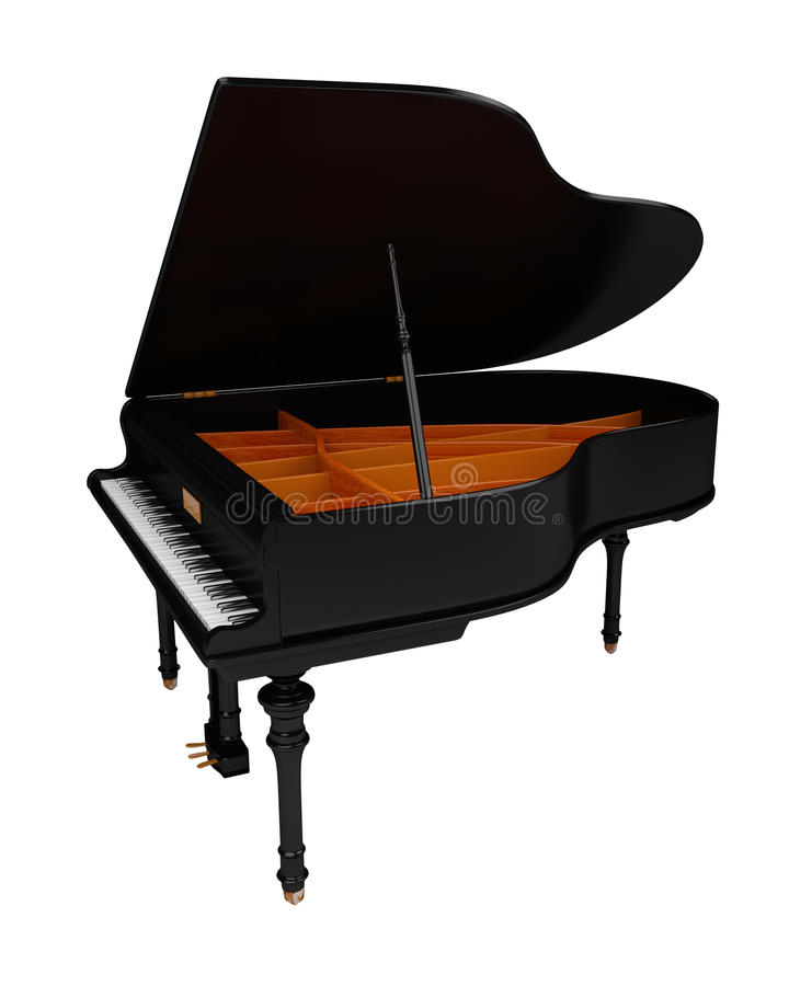 Grand piano. Illustration of a grand piano. Isolated on white background royalty free illustration