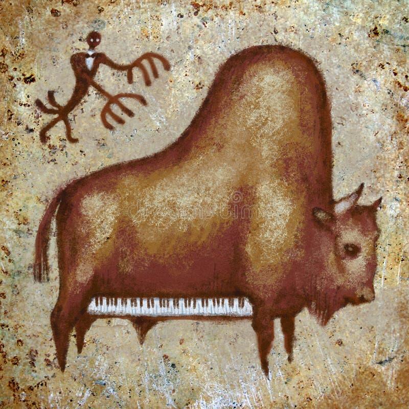 The grand piano buffalo art print. Funny positive grand piano buffalo musician pianist rock painting brown digital art print stock illustration