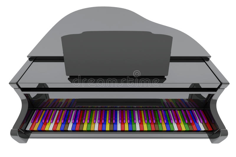 Download Grand Piano With Color Keys Stock Illustration - Illustration: 14312930