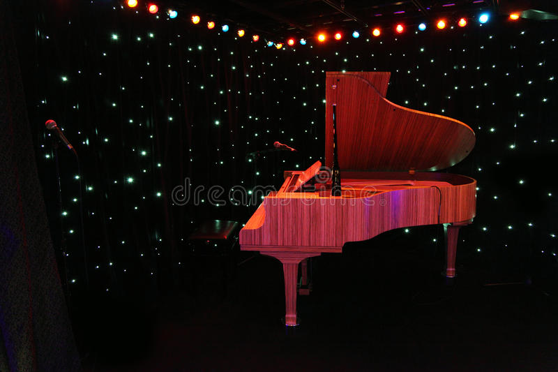 Grand Piano At Concert Stage Stock Photos