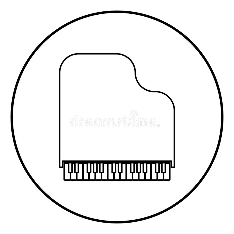 Grand piano icon black color vector illustration simple image. Grand piano icon outline in circle black color vector illustration simple image flat style royalty free illustration