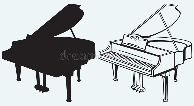 Grand piano. Isolated on blue background royalty free illustration