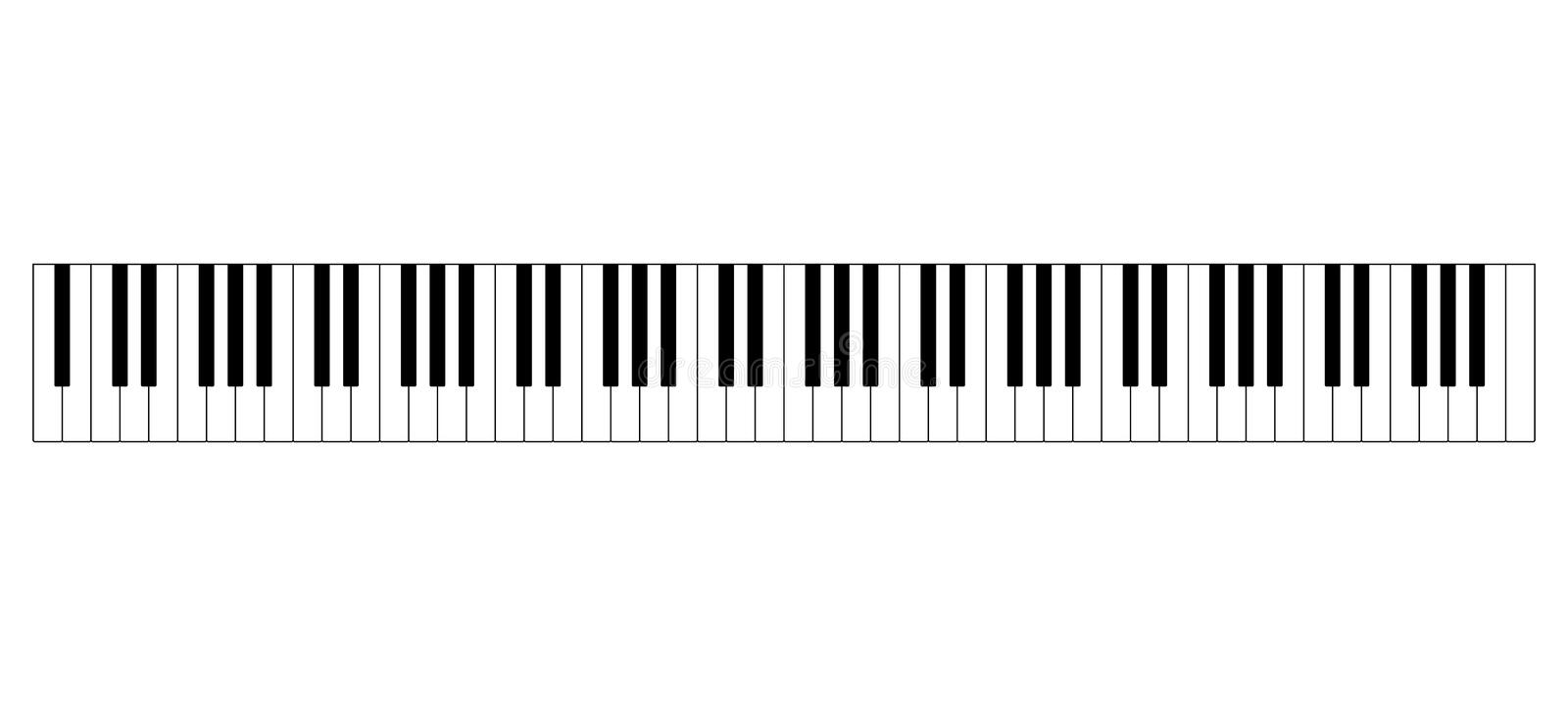 Grand piano keyboard layout. With 88 keys. 52 white and 36 black keys, 7 full octaves. Set of levers on a musical instrument for playing the twelve notes of royalty free illustration