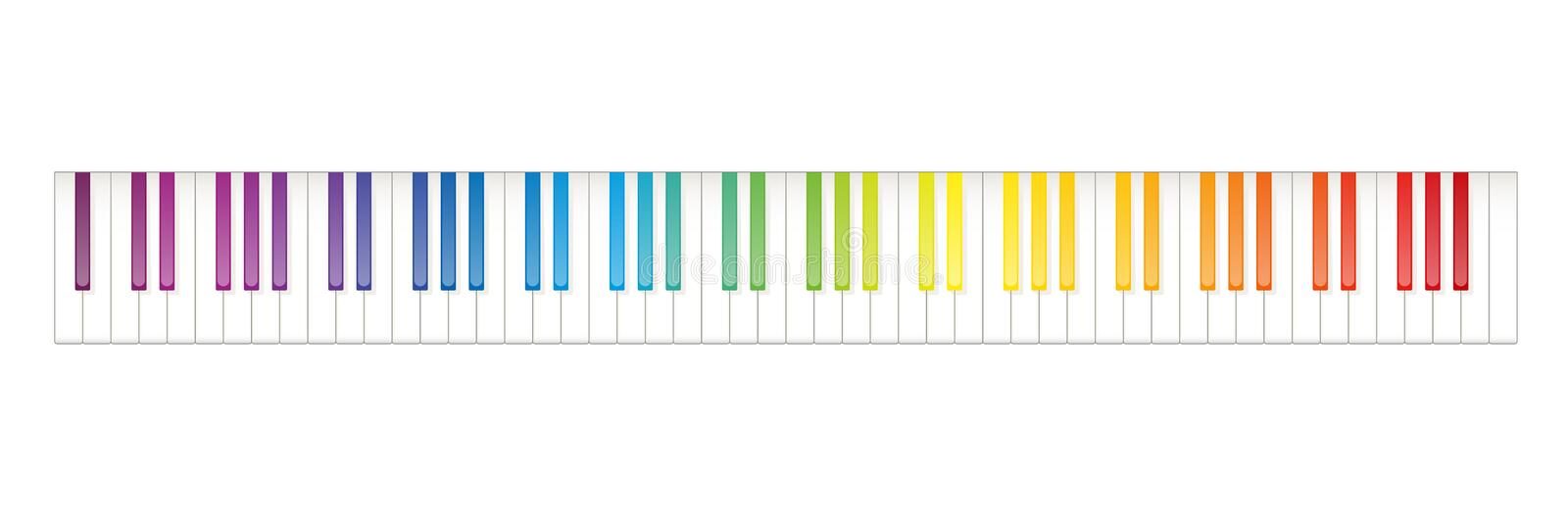Rainbow Colored Piano Keyboard Seven Octaves. Grand piano keyboard layout with 88 keys. 52 white and 36 black keys, 7 full octaves. Set of levers on a musical stock illustration