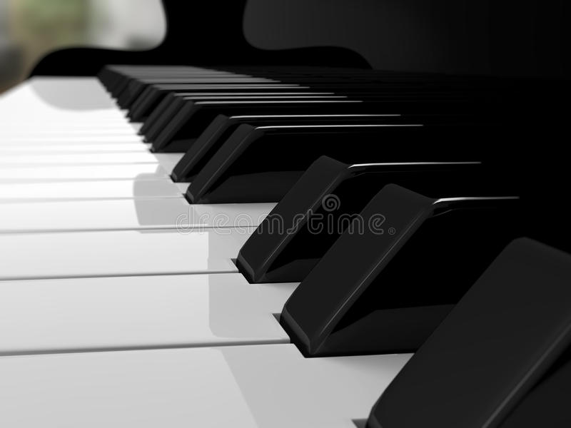 Grand piano keys, music. Close-up view of grand piano keys. Good for music, background, entertainment and arts concept royalty free illustration