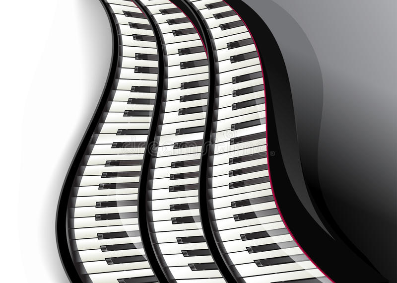 Grand piano keys wavy. Over white background stock illustration