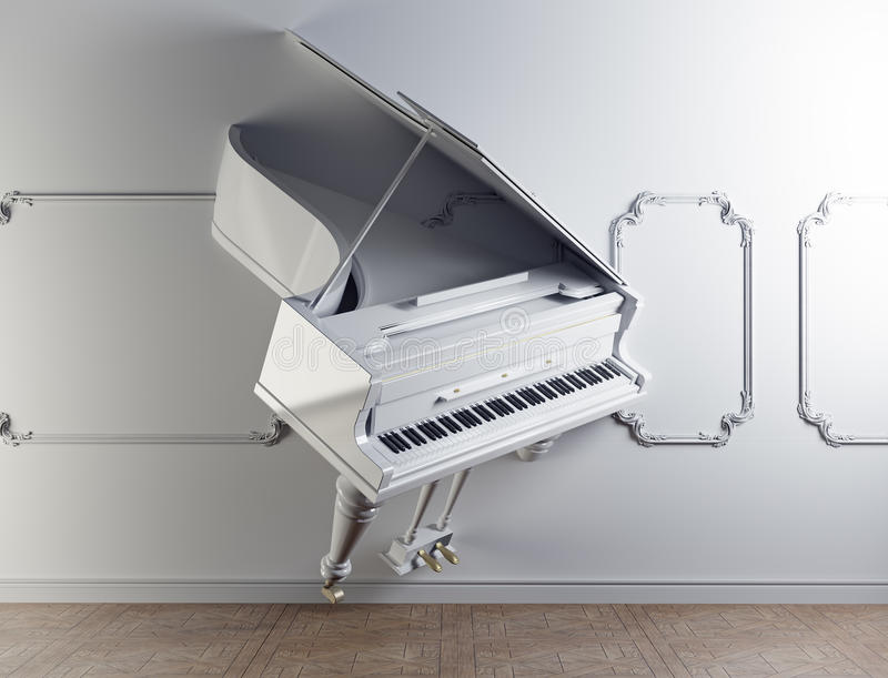 Grand piano in the wall vector illustration