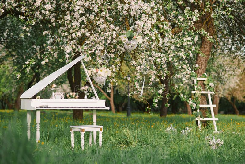 Grand piano and white staircase with romantic decor in spring in a blossoming Apple tree garden. White Grand piano and white staircase with romantic decor in stock images