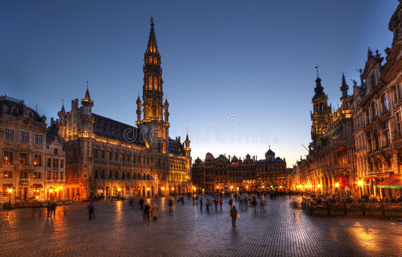 Grand Place Brussels at night stock photo