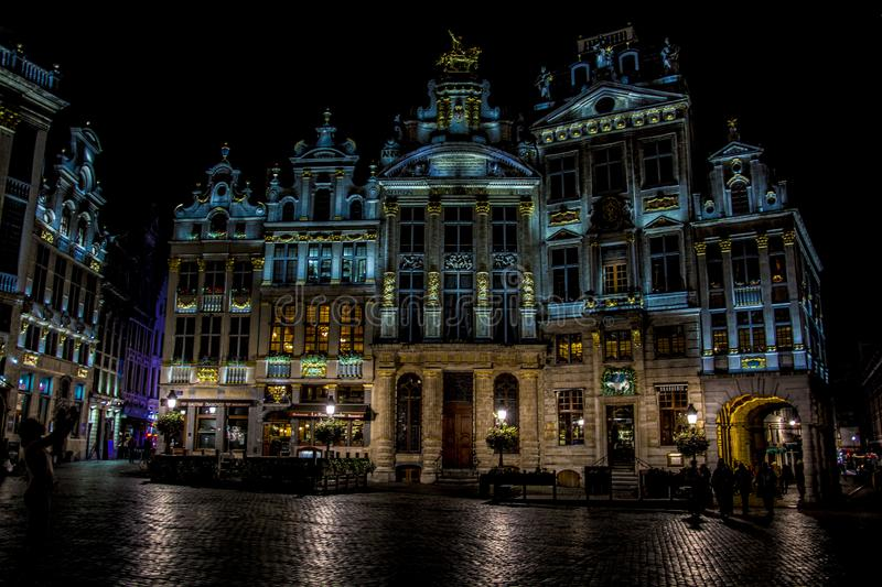 Grand Place of Brussels at night stock photography