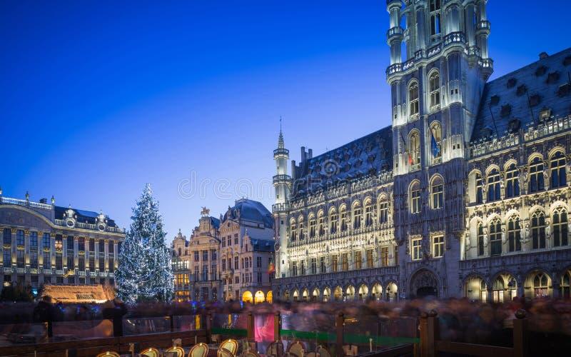 Grand Place Bruxelas no Natal fotografia de stock