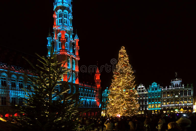 Grand Place, Bruxelles, Belgio con le luci di Natale immagine stock
