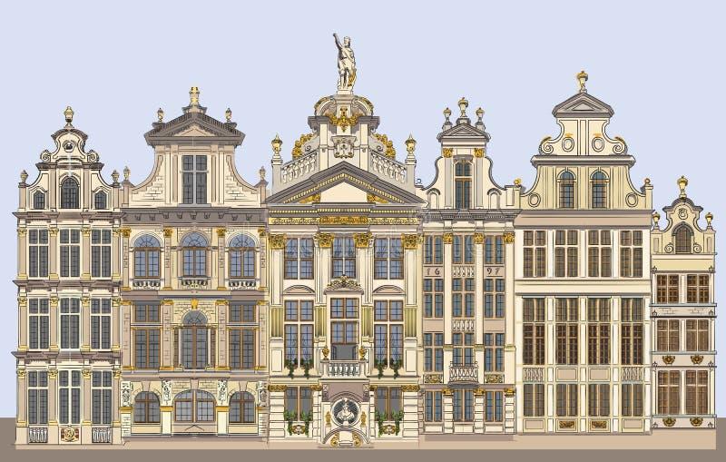 Grand Place coloré à Bruxelles, Belgique illustration de vecteur