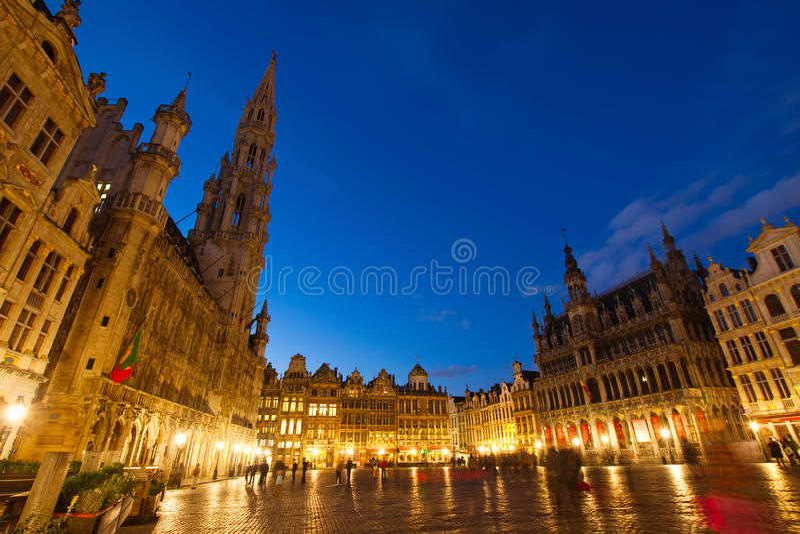 Grand Place en Stadsvierkant, Brusseles stock foto's