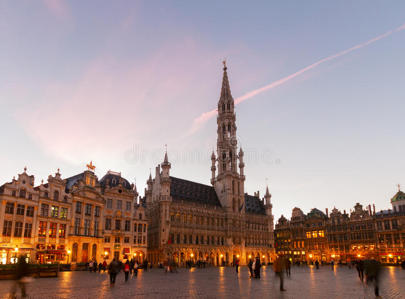 Grand Place en Stadsvierkant, Brusseles royalty-vrije stock foto's