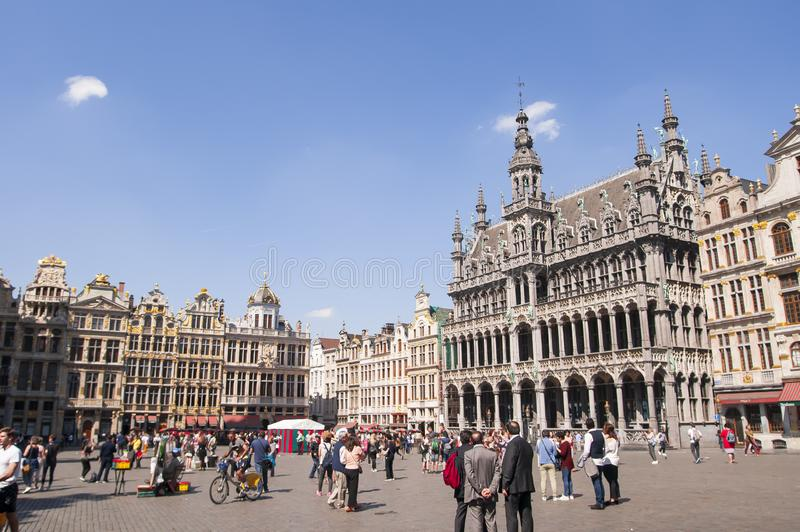 Grand Place Grote Markt in Brussels, Belgium 2018. Buildings of Grand Place dating back to the 14th century. Stadhuis van Brussel Hôtel de Ville de Bruxelles stock photos