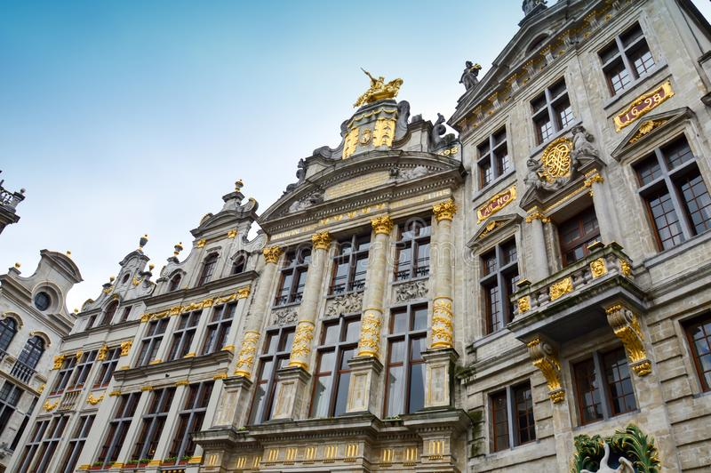 Grand Place, landmark of Belgium located at central square of Brussels City. Brussels, Belgium - April 2015: Grand Place, most memorable landmark of Belgium royalty free stock images