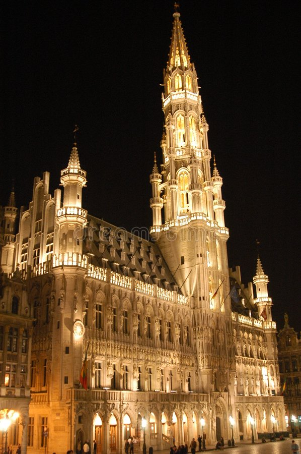 Grand Place by night royalty free stock photography