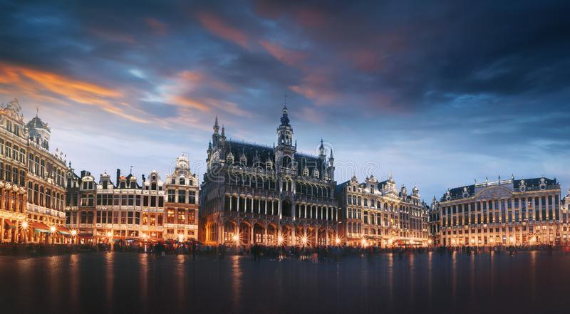 Grand Place in Brussels at night, Belgium royalty free stock image