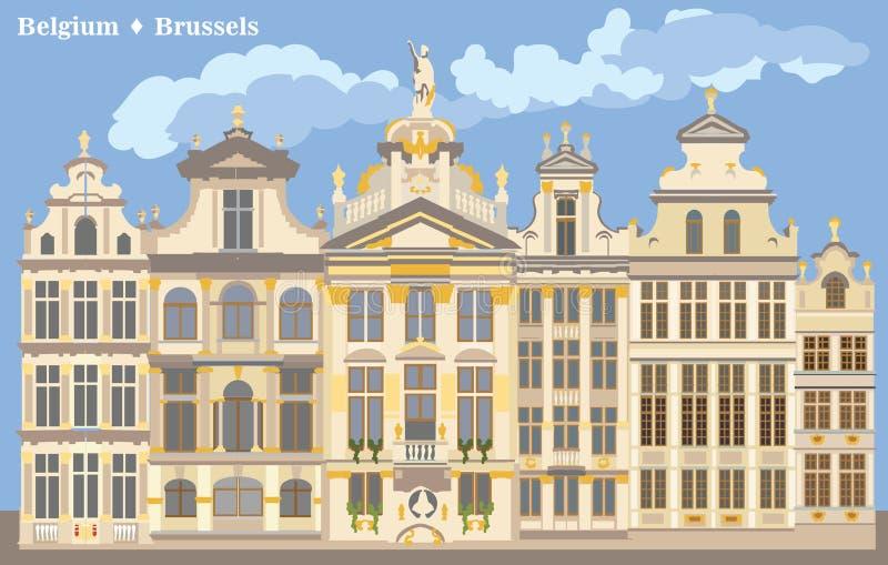 Grand Place variopinto a Bruxelles illustrazione vettoriale