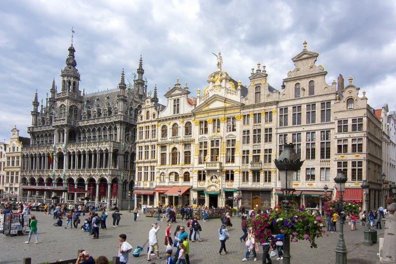 Grand Place -vierkant in centrum van Brussel, België royalty-vrije stock afbeelding