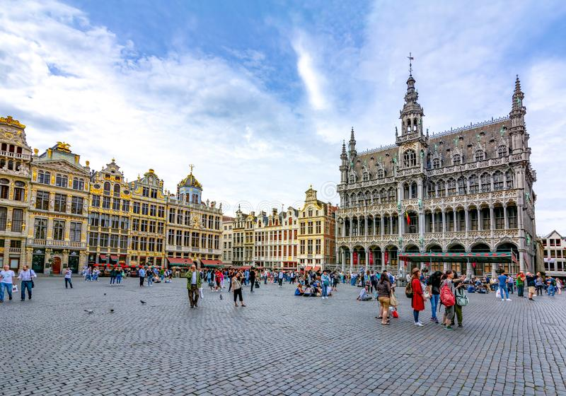 Grand Place -vierkant in centrum van Brussel, België stock fotografie