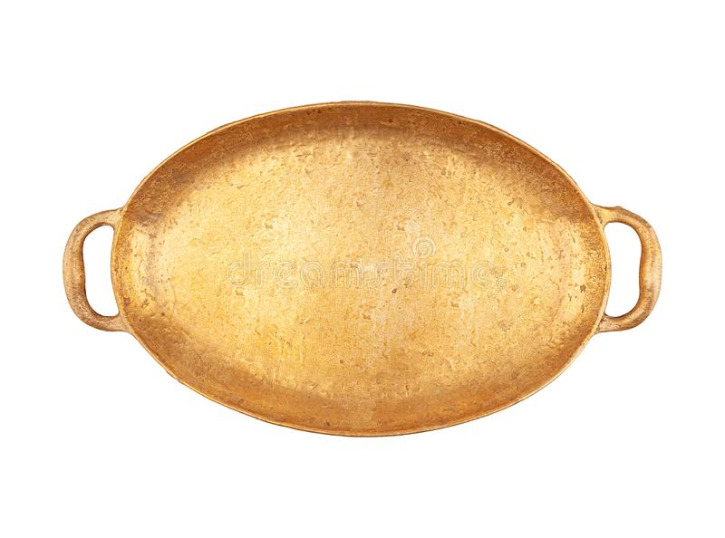 Grand plateau ovale en laiton de couleur d'or photographie stock