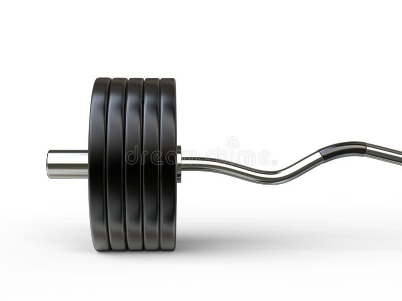 Grand poids de barbell avec la barre incurvée image stock