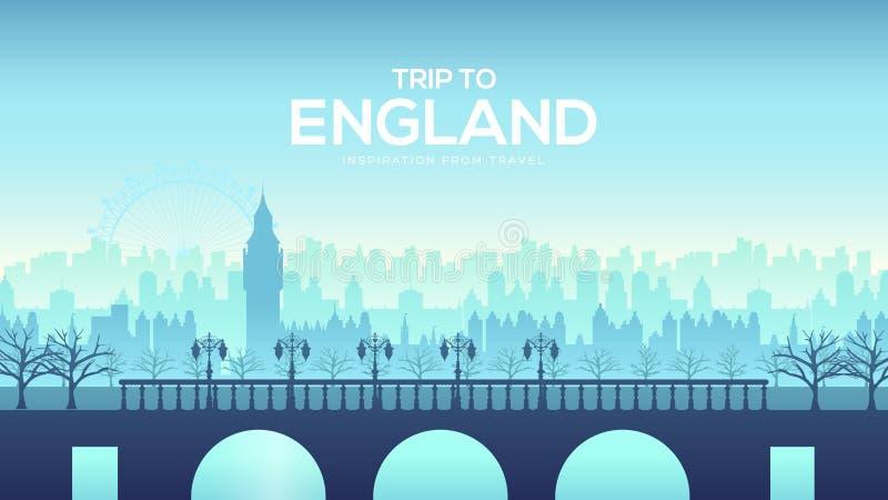 Grand pont de l'Angleterre sur le fond de paysage du concept de ville Conception urbaine d'illustration de vecteur illustration stock
