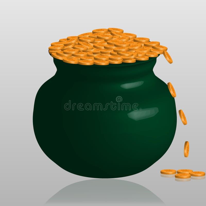 Grand pot vert frais avec des pièces d'or d'isolement avec l'ombre en verre illustration stock