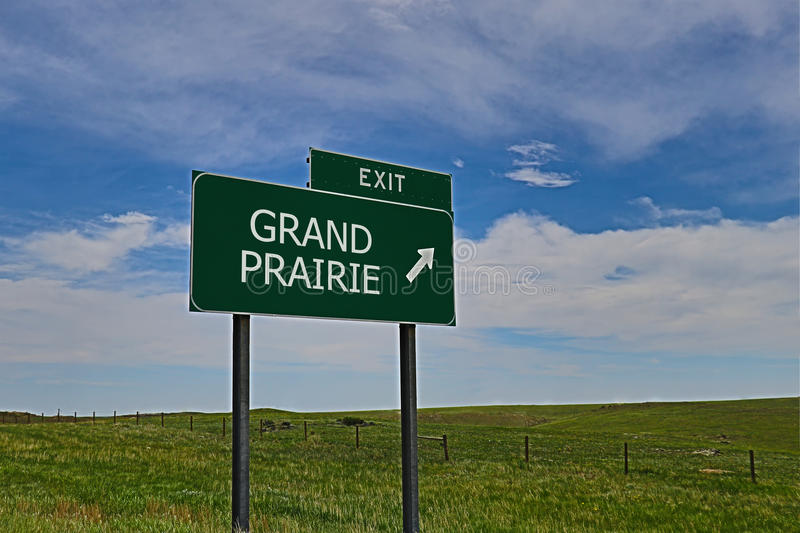 Grand Prairie. US Highway Exit Sign for Grand Prairie HDR Image stock image