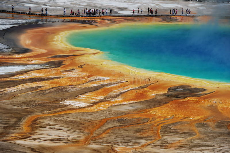 Grand Prismatic. Aerial view of the Grand Prismatic Pool in Yellowstone National Park USA stock photography