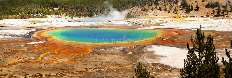 Yellowstone National Park, Grand Prismatic Panorama, Wyoming stock photography