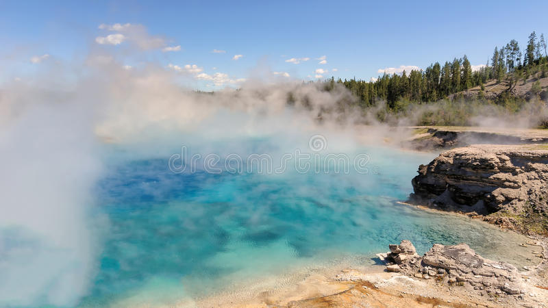Grand Prismatic Spring aria in Yellowstone National Park. Grand Prismatic Spring in Yellowstone National Park stock photography