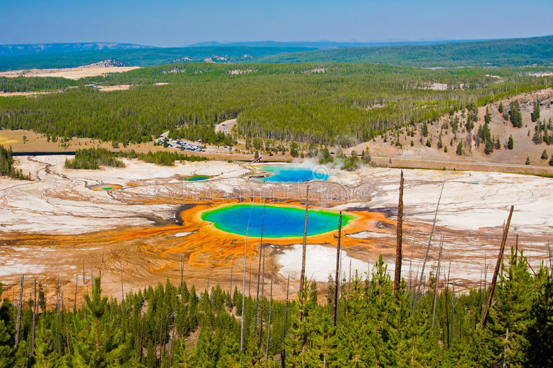 Grand Prismatic Spring in Yellowstone National Park. The World Famous Grand Prismatic Spring in Yellowstone National Park stock images